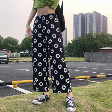 KOKOPIECECOCO Casual Flower Print Loose Straight Pants