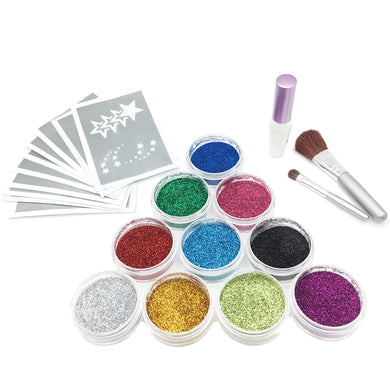 DIYEAH Big 10 Colors Glitter Temporary Face Painting Kit