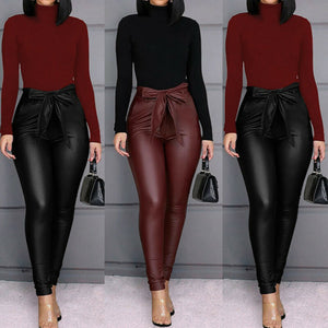HIRIGIN Belt High Waist Faux Leather Long Pants