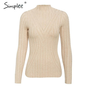 SIMPLEE Knitted Long Sleeve Turtleneck Pullover