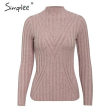 Load image into Gallery viewer, SIMPLEE Knitted Long Sleeve Turtleneck Pullover