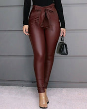 Load image into Gallery viewer, HIRIGIN Belt High Waist Faux Leather Long Pants