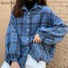 Load image into Gallery viewer, BONNTEE Women Plaid Batwing Sleeve Coat