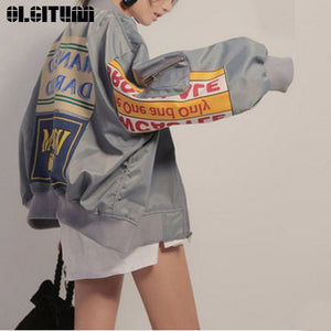 OLGITUM Graphic Baseball Bomber Jacket