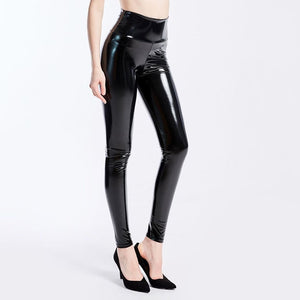 CHRLEISURE Women Stretch Black Pu Leather Pants