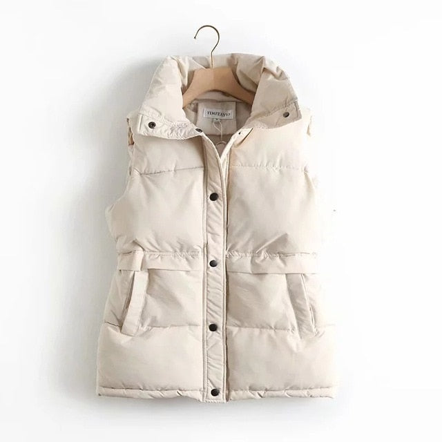 HWLZLTZHT Women Cotton Padded Sleeveless Coat