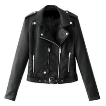 Load image into Gallery viewer, Women Punk Leather Lapel Zipper Motorcycle Jacket