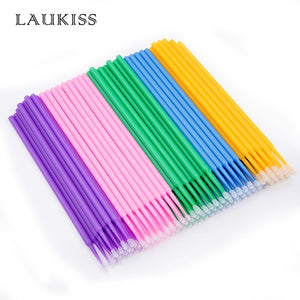LAUKISS 500pcs/Lot Micro Disposable Eye Lash Cleaning Brushes Rod