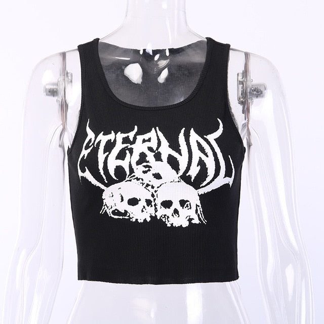 LVINMW Women Black Skull Print knitted Ruffle Gothic Tank Top