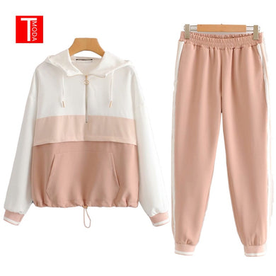 Set Female Vintage Contrast Color Baseball Bomber Pullover Jacket Women Tops and Pencil Jogging Pants Suits Two Piece Sets