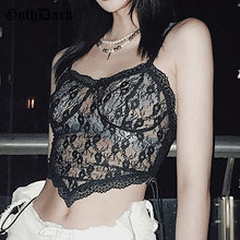 Load image into Gallery viewer, GOTH DARK Women Gothic And Black Mesh Bandage Floral Lace Crop Top