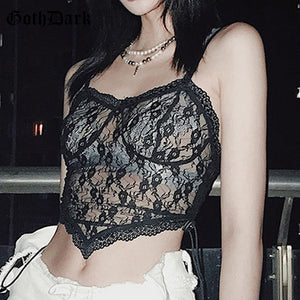 GOTH DARK Women Gothic And Black Mesh Bandage Floral Lace Crop Top