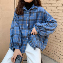 Load image into Gallery viewer, GOGHVINCI Women Turn-down Collar Plaid Shirt
