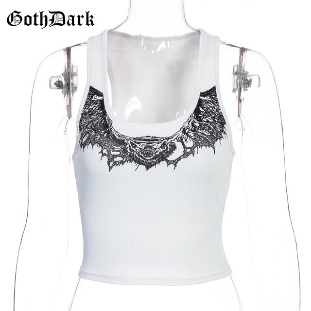 GOTH DARK Casual Animal Print Crop Top