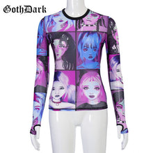 Load image into Gallery viewer, GOTH DARK Women O-Neck Mesh Print Top