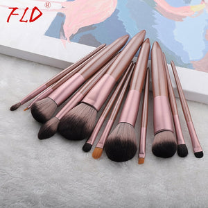 FLD 12pcs Wood Handle Makeup Brush Set