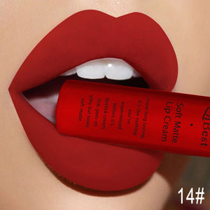 Qibest Brand 34 Colors Waterproof Matte Nude Lipstick Lipkit Pigment Dark Red Black Long Lasting Lip Gloss Women Makeup Lipgloss