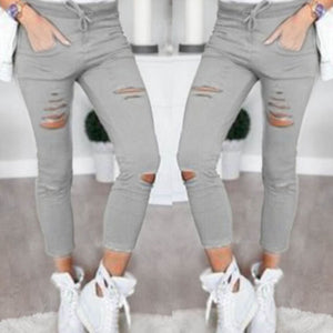 HIRIGIN Women Stretch Faded Ripped Slim Fit Denim Jeans