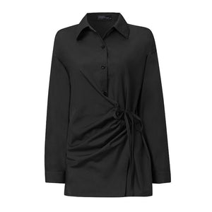 ZANZEA Long Sleeve Lace Up Shirt