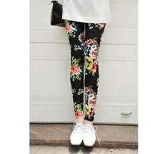Load image into Gallery viewer, CUHAKCI Women Graffiti Floral Patterned Print Leggings