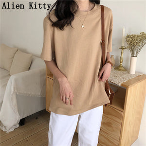 ALIEN KITTY Loose Natural Short Basic T-Shirt