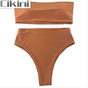 CIKINI Women Push up High Waist Brazilian Bikini Set