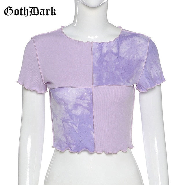 GOTH DARK Women Tie Dye With Sequin Patchwork Crop Top