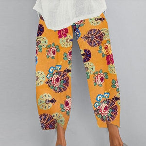 ELSVIOS Women Vintage Printed Wide Leg Pants