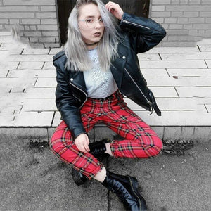 Women Hight Waist Plaid Pants