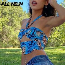 Load image into Gallery viewer, ALLNEON Women Camouflage Hollow Out Bandage Crop Top
