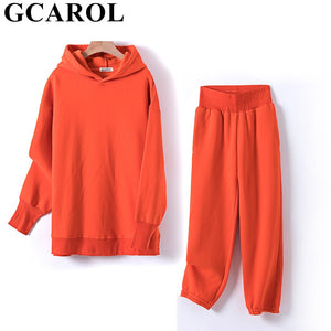 GCAROL Fall Winter Women Sets Extra Long Hooded Suits 80% Cotton Fleece Oversized Boyfriend Sweatshirt Elastic Waist Harem Pants