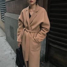 Load image into Gallery viewer, AACHOAE Women Wide-Waisted Long Wool Coat