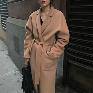 AACHOAE Women Wide-Waisted Long Wool Coat