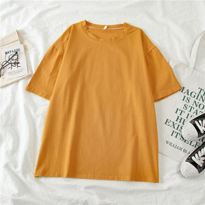 GCAROL Women O-neck Upper Oversized T-shirt