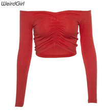 Load image into Gallery viewer, WHATIWEAR Women Off Shoulder Long Sleeve Top