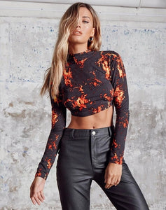 HIRIGIN Women Dragon Printed Backless Crop Top