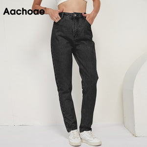 AACHOAE Women High Waist Long Denim Mom Jeans