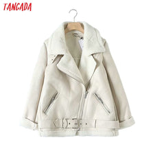 Load image into Gallery viewer, TANGADA Women Fur Faux Leather Coat