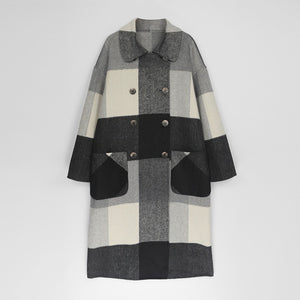 AACHOAE Women Vintage Plaid Woolen Long Coat
