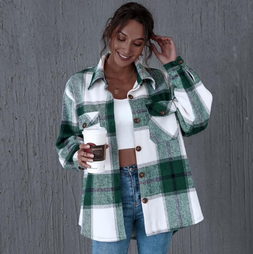 HIRIGIN Women Casual Plaid Shirt