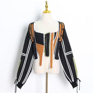 TWOTWINSTYLE Casual Patchwork Irregular Jacket