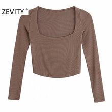Load image into Gallery viewer, ZEVITY Women Knitted Long Sleeve Crop Top