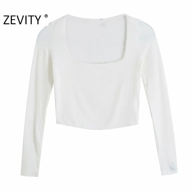 ZEVITY Women Knitted Long Sleeve Crop Top