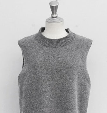 RUGOD Women Sleeveless O-Neck Knitted Vest