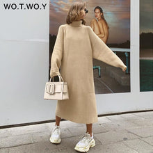 Load image into Gallery viewer, WOTWOY Turtleneck Oversized Knitted Long Sleeve Dress