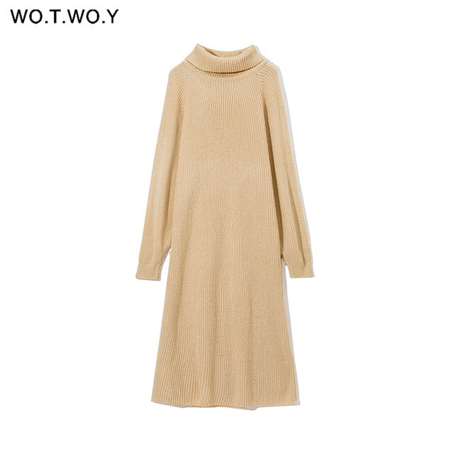 WOTWOY Turtleneck Oversized Knitted Long Sleeve Dress