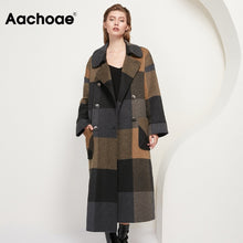 Load image into Gallery viewer, AACHOAE Women Vintage Plaid Woolen Long Coat