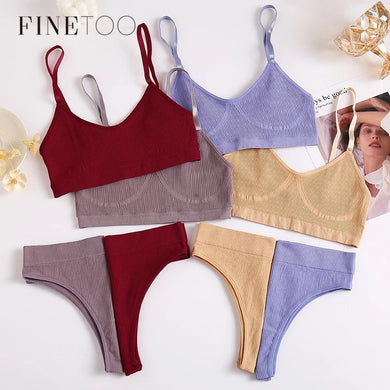 FINETOO Women Seamless Cotton Bra And Underwear Set