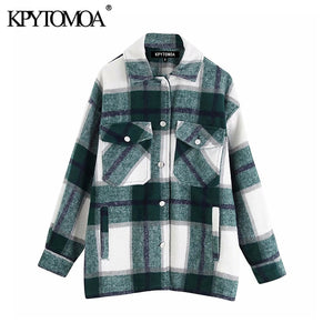 KRYTOMOA Vintage Stylish Oversized Plaid Jacket