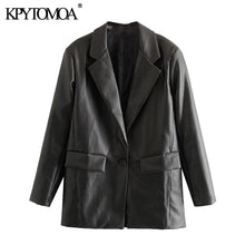 Load image into Gallery viewer, KPYTOMOA Women Faux Leather Loose Coat